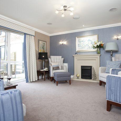 blue furniture in lounge